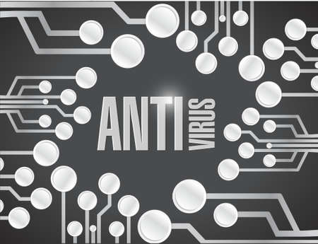 virus alert: anti virus circuit board illustration design over a black background Illustration