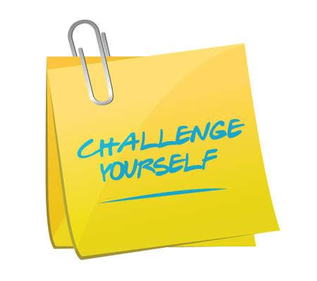 challenge yourself post message illustration design over a white background Illustration