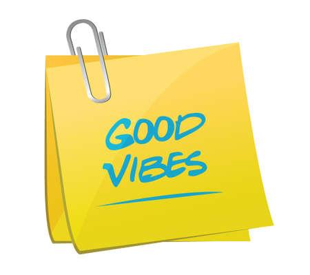 vibes: good vibes memo post illustration design over a white background