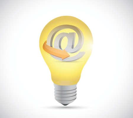 light bulb and online at symbol illustration design over a white background Vector