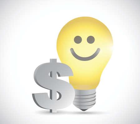 light bulb dollar money illustration design over a white background 版權商用圖片 - 31976155