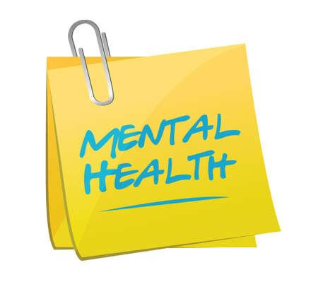mental health memo post illustration design over a white background