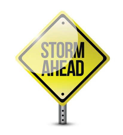 白い背景の上嵐前方の道路標識のイラスト デザイン  イラスト・ベクター素材