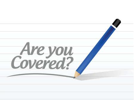 êtes-vous couvert conception message d'illustration sur un fond blanc