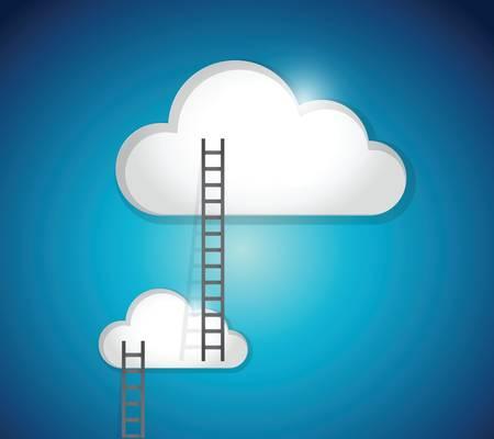 conquest: cloud ladder steps illustration design over a blue background