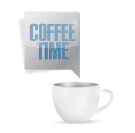 コーヒー時間マグカップ イラストが白色の背景上デザインします。  イラスト・ベクター素材