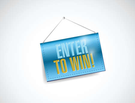 contestant: enter to win hanging banner illustration design over a white background Illustration