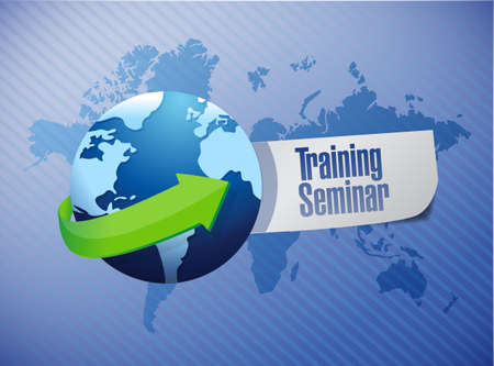 studing: training seminar sign illustration design over a world map background