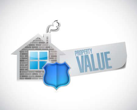 home value: property value sign illustration design over a white background