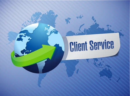 client service: globe client service sign illustration design over a world map background