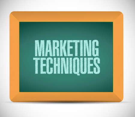 marketing techniques sign illustration design over a white background illustration