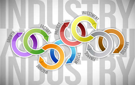 productivity system: industry cycle diagram illustration design over a white background