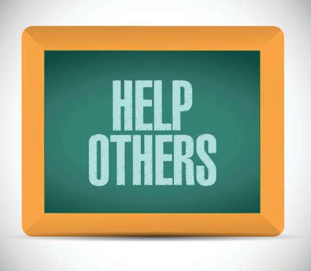 generosity: ayudar a otros a firmar diseño ilustración sobre un fondo blanco Vectores