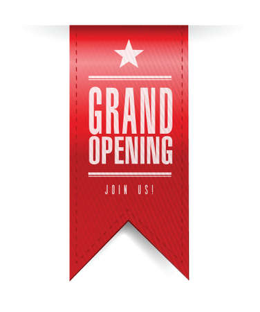 grand opening banner illustration design over a white background