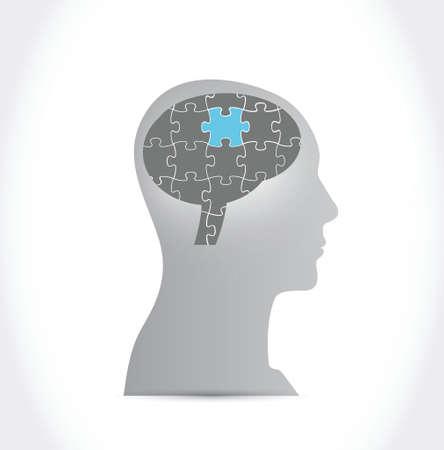 puzzle brain illustration design over a white background Vetores