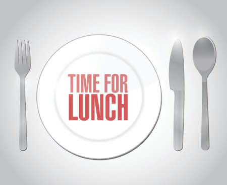 breakout: time for lunch restaurant illustration design over a white background
