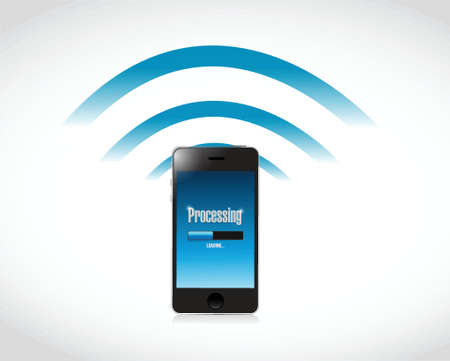 mobile banking: processing payment credit wifi illustration design over a white background