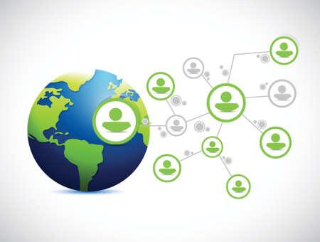 team communication: globe network connection illustration design over a white background