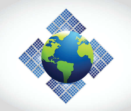 globe solar panel illustration design over a white background