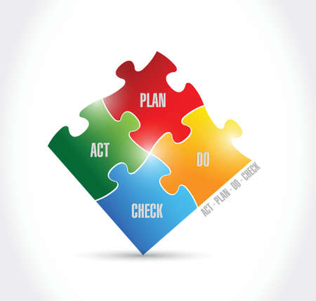 plan do check act: act plan do check puzzle pieces illustration design over a white background Illustration