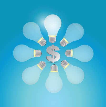 consultancy: dollar currency symbol around ideas illustration design over a blue background Illustration