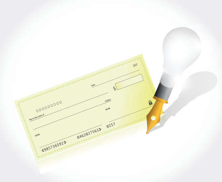 fake money: bank check and pen illustration design over a white background