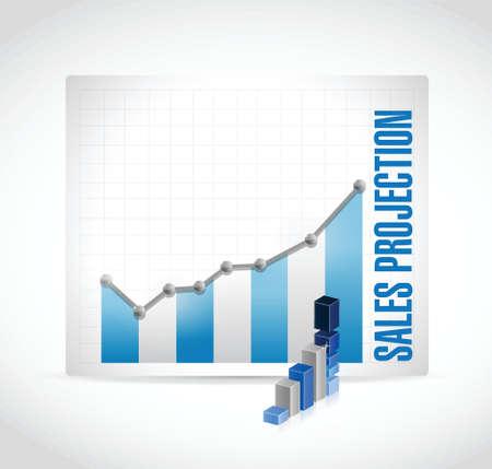 sales projection business graph illustration design over a white background Ilustração