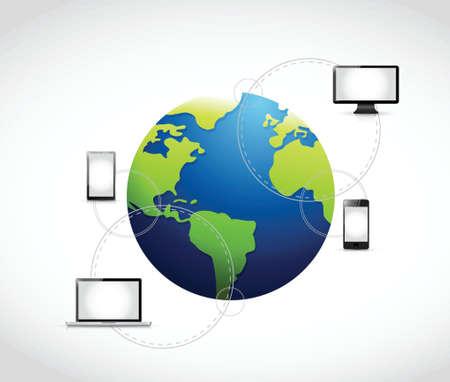 smart phone woman: international technology connection illustration design over a white background Illustration