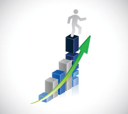 column chart: Human Figure jumping from a business graph illustration design over a white background