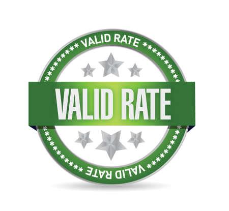 valid: valid rate seal illustration design over a white background