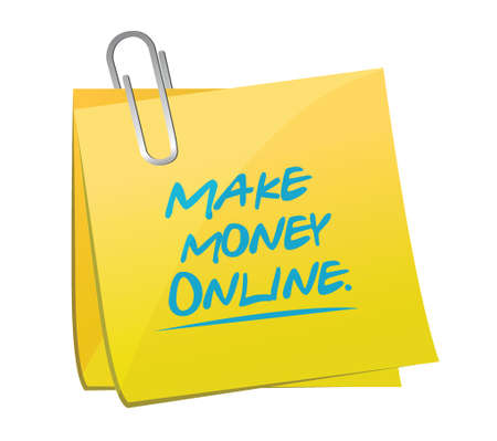stock quotes: make money online memo illustration design over a white background Illustration