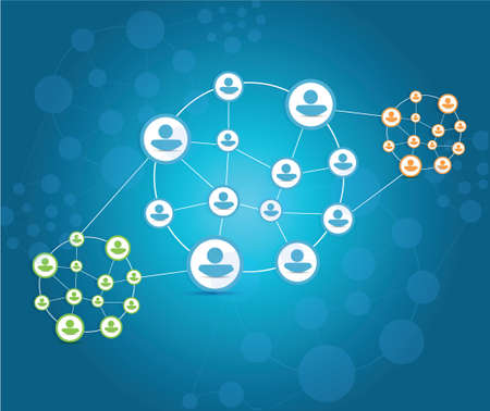 closer: business teams cycle connection illustration design over a blue background
