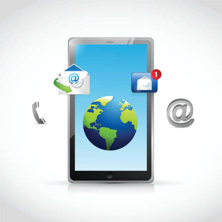 3g: contact us tablet and icons illustration design over a white background