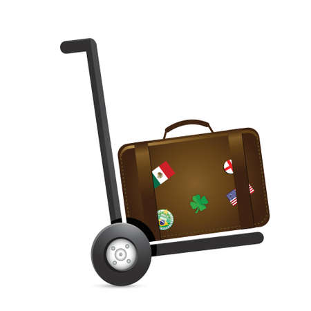 luggage and handtruck dolly illustration design over a white background
