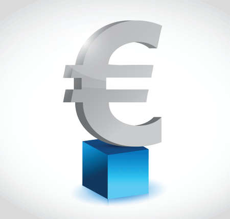 moneymaker: euro currency symbol over a cube illustration design over a white background