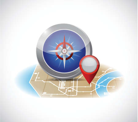 compass and map illustration design over a white background