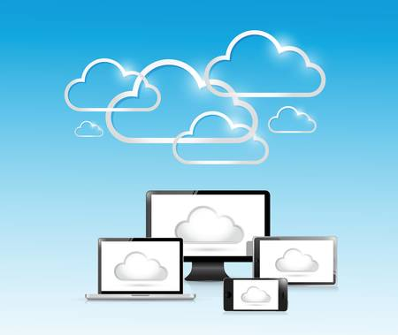 using tablet: cloud computing and electronics. illustration design over a light blue background