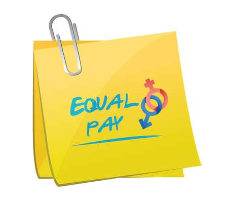 equal pay memo post illustration design over a white background