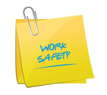 work safety memo post illustration design over a white background Vector