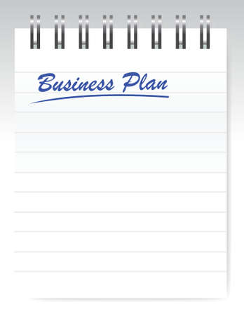 business plan notebook page illustration design over a white background