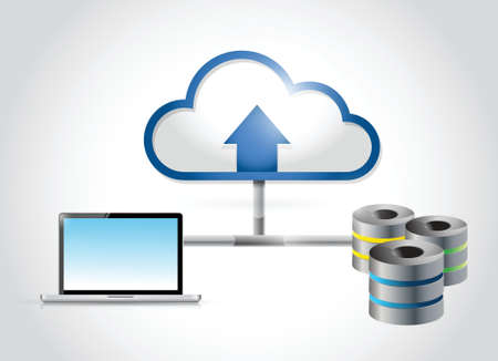 server and computer cloud computing connection illustration design over a white background Illustration