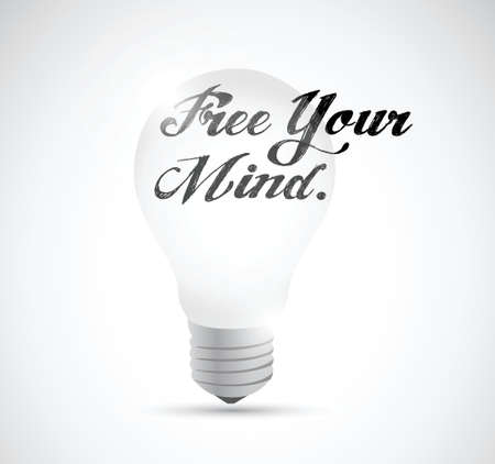 free your mind: free your mind light bulb illustration design over a white background