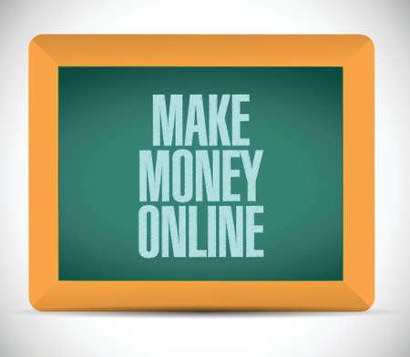 make money online sign illustration design over a white background Vector