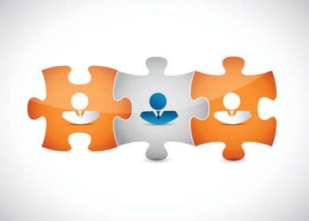 business people puzzle pieces illustration design over a white background Illustration