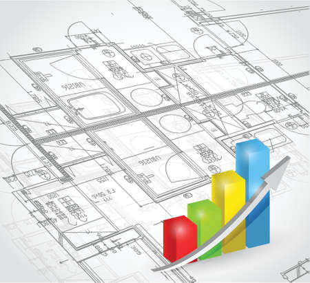 blueprint and business graph illustration design over a white background Vector