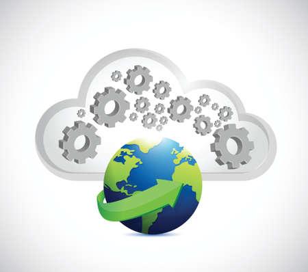 centralized: industrial cloud storage illustration design over a white background Illustration