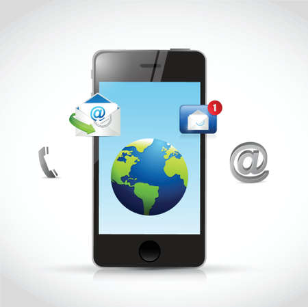 3g: contact us phone and icons illustration design over a white background