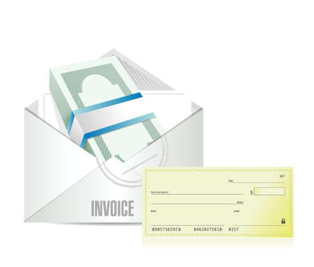 receivable: invoice envelop and check illustration design over a white background