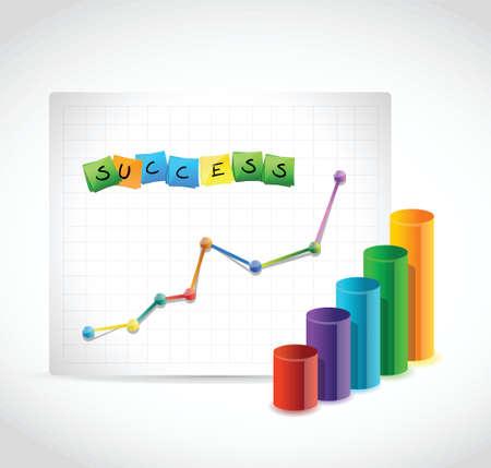success graphs illustration design over a white background Çizim