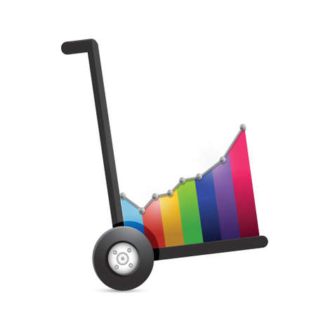 stockmarket chart: business graph on a dolly. illustration design over a white background